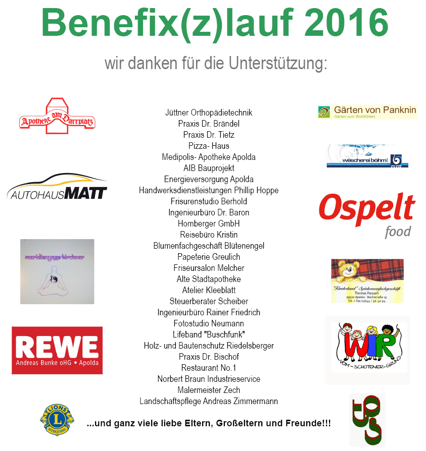 Sponsoren Benefix(z)lauf 2016